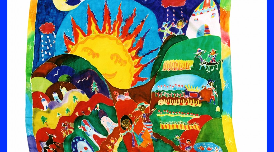 Whimsical art silk painting banner / scarf by Tasha Paley